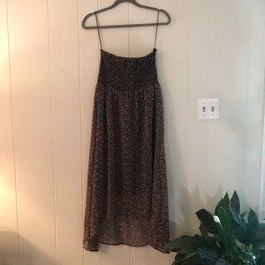 Low high strapless dress women's size L fit M